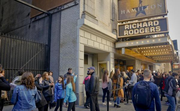 People line up to see the Broadway hit Hamilton on Nov. 19 in New York.