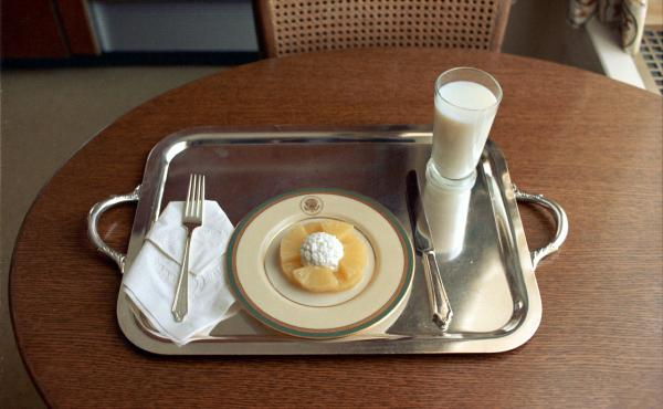 On the day that he announced his resignation, Richard Nixon ordered cottage cheese, pineapple slices and a glass of milk.