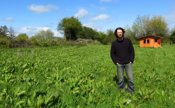 Paul Kingsnorth — seen here in front of his writing shed — used a crowdfunding platform to publish The Wake after mainstream houses didn't bite.