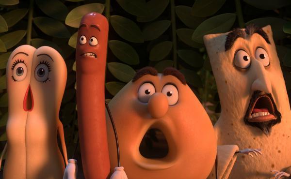 In Sausage Party, Kristen Wiig, Seth Rogen, Edward Norton, and David Krumholtz voice various foodstuffs.