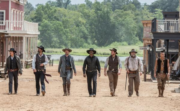 The updated, multicultural gang of gunslingers in The Magnificent Seven.