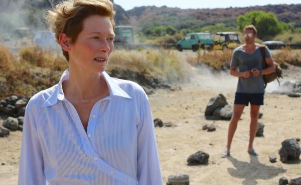 Tilda Swinton, as Marianne, and Matthias Schoenaerts, as Paul, in A Bigger Splash.