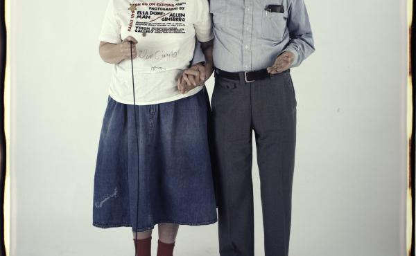 """Elsa Dorfman and Allen Ginsberg. The inscription on the bottom of the photo reads, """"October 15, 1988. The morning after our reception at Vision."""""""