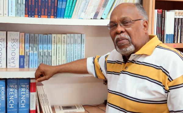 Jan Mapou in his bookstore, Libreri Mapou, in Miami's Little Haiti.