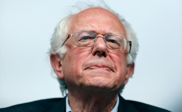 Sen. Bernie Sanders pauses during a campaign event in Louisville, Ky., on Tuesday.