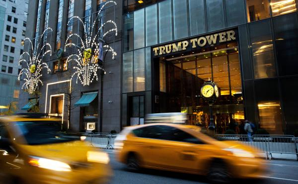 Traffic flows past Trump Tower in New York in November 2016. The Trump administration wants more time to produce evidence that then-President Barack Obama ordered surveillance on Donald Trump during last year's election. Trump says his predecessor ordered