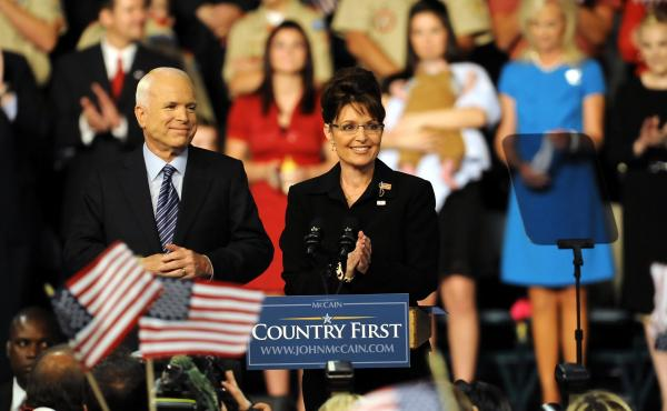 John McCain and Sarah Palin appear at a rally on Aug. 29, 2008, in Dayton, Ohio. McCain announced the governor as his vice presidential running mate at the rally.