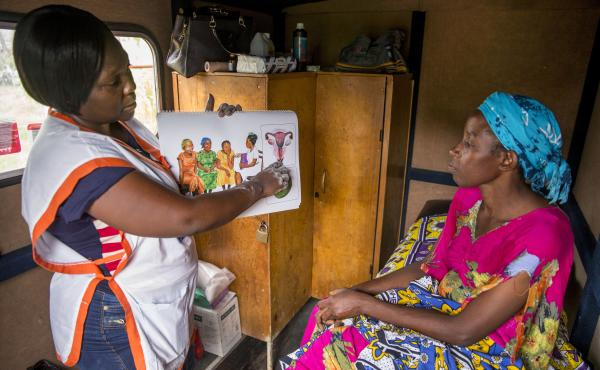 A mobile clinic outside Mombassa, Kenya, provides women in rural areas with family planning options like contraceptive implants and offers cervical cancer screening as well.