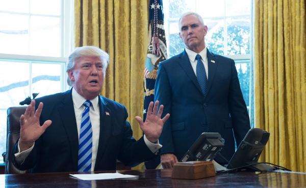 President Trump speaks in the Oval Office, joined by Vice President Pence, after Republican leadership pulled their health care bill from a vote in the House.