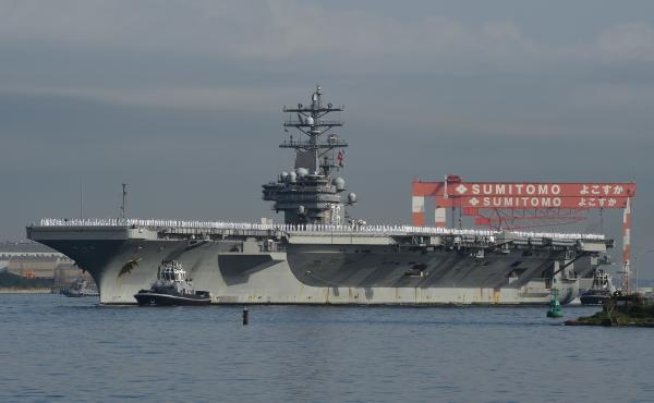 Aircraft carrier USS Ronald Reagan arrives at the U.S. Navy base in Yokosuka, Japan, on Oct. 1, 2015.