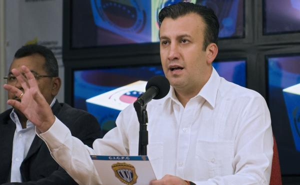 Tarek El Aissami, then Venezuela's interior minister, holds a press conference in Caracas in April 2012. El Aissami became the country's vice president last month, and the U.S. Treasury Department announced sanctions against him on Monday.