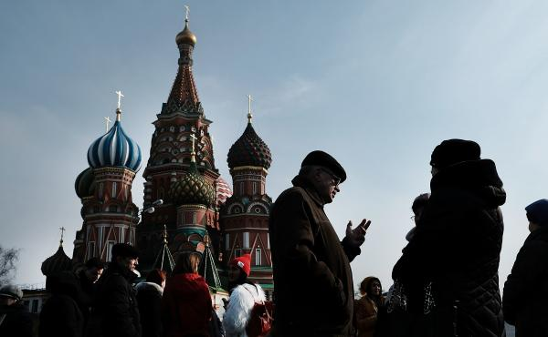 People walk through Moscow's Red Square in March. Both the House and Senate intelligence committees are investigating Russian interference in last year's presidential election.