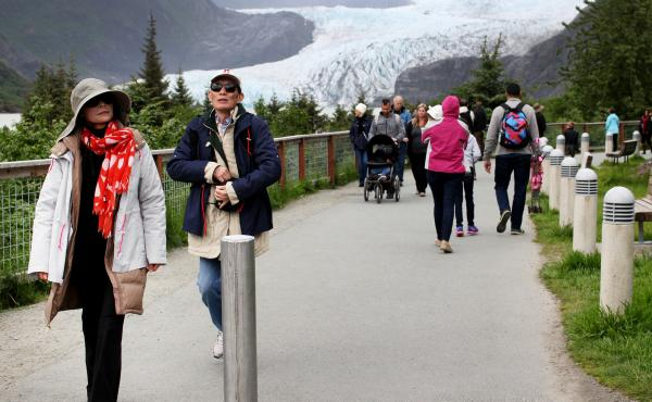 About 80 percent of the people who come to the Mendenhall Glacier in the summer are tourists.