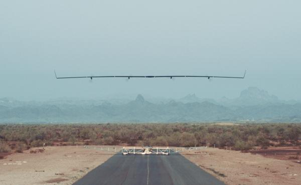 Facebook's unmanned plane takes off in Arizona on June 28 for its first full-scale test flight. The solar-powered plane is designed to deliver wireless Internet to the ground as it flies over.