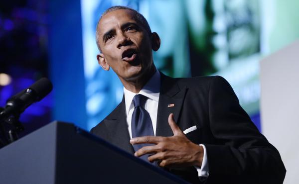 President Barack Obama speaks to the Congressional Black Caucus Foundation's 46th Annual Legislative Conference Phoenix Awards on Saturday night.