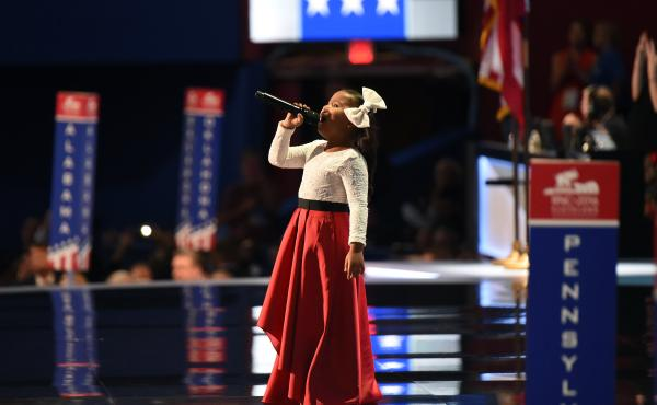 """Six-year-old Heavenly Joy sings """"America the Beautiful"""" to open the final night of the Republican National Convention."""