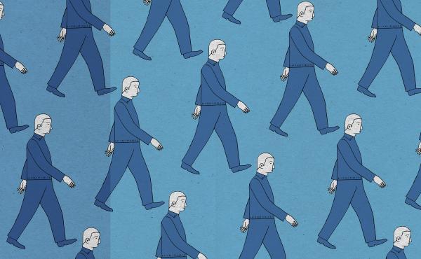 Pattern of similar men walking in rows