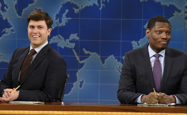 "Colin Jost and Michael Che co-anchor SNL's ""Weekend Update"" segment."