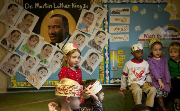 Elspeth Ventresca, center, and the rest of Carolyn Barnhardt's prekindergarten class at John Eaton Elementary School wear the crowns they made to celebrate Rev. Martin Luther King Jr.'s birthday.