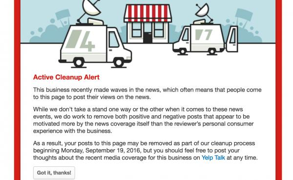 """Airing political views through Yelp has become such a popular pastime that the site had to create a """"cleanup"""" alert. A business undergoing a cleanup will have a large red box like this one at the top of its page noting that it is being closely monitored b"""