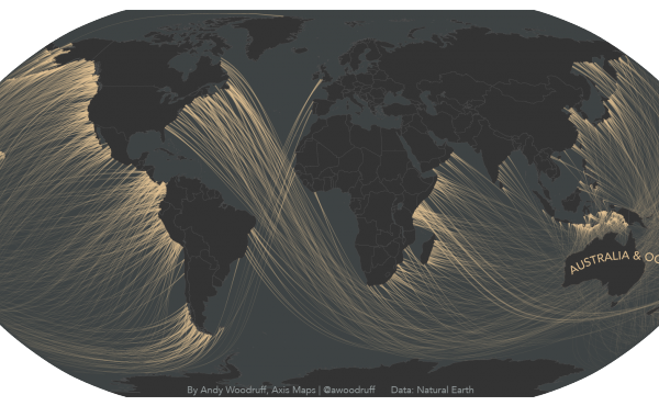 """A map by cartographer Andy Woodruff shows the coastlines around the world from which you could """"see"""" Australia and Oceania, if you could follow your gaze around the Earth's curvature."""