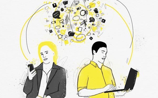 Illustration of people communicating via computers.