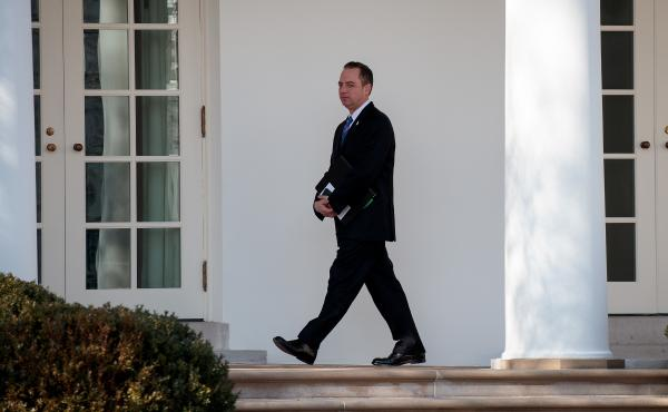 White House Chief of Staff Reince Priebus, seen here walking toward the Oval Office in January, had been in touch with the FBI over media reports about Trump associates and contacts with Russia, according to a senior administration official.