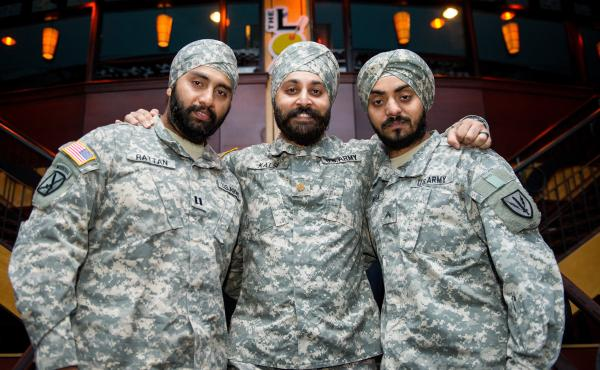 Capt. Tajdeep Rattan (from left), Maj. Kamaljeet Kalsi and Lamba are the only three observant Sikh men currently serving in the U.S. military. Sikhs are hoping that a recent U.S. Supreme Court ruling might lead the Pentagon to lift its ban on facial hair