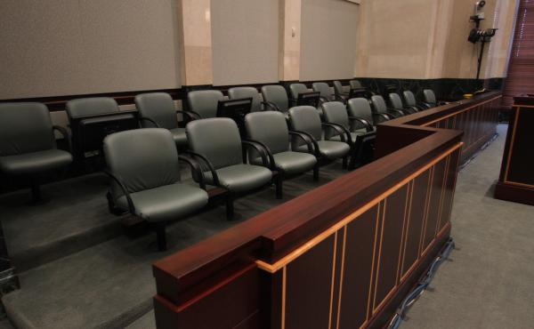 An empty jury box at the Orange County Courthouse during the Casey Anthony murder trial in 2011.