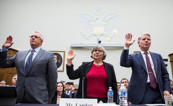Worcester Polytechnic Institute professor Susan Landau is sworn in alongside Apple General Counsel Bruce Sewell (left) and New York County District Attorney Cyrus Vance at a congressional hearing on encryption on March 1.