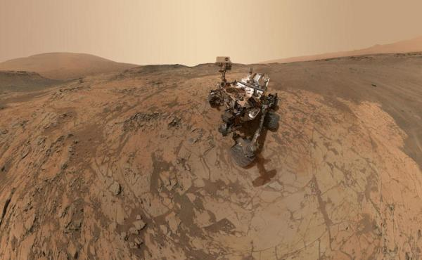 NASA's Curiosity rover took dozens of images that together made a selfie in January on the Mount Sharp area of Mars.