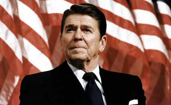 President Ronald Reagan at a political rally.