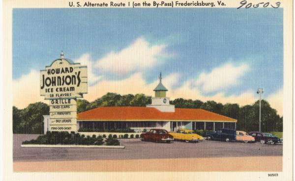 A vintage postcard (circa 1930-1945) shows the HoJo's on U.S. Alternate Route I, in Fredericksburg, Va.