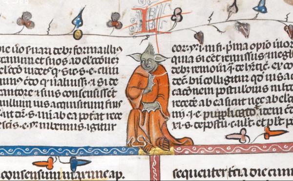 A religious volume from the early 1300s includes this image of a monk who resembles the Jedi Master Yoda of the Star Wars films.