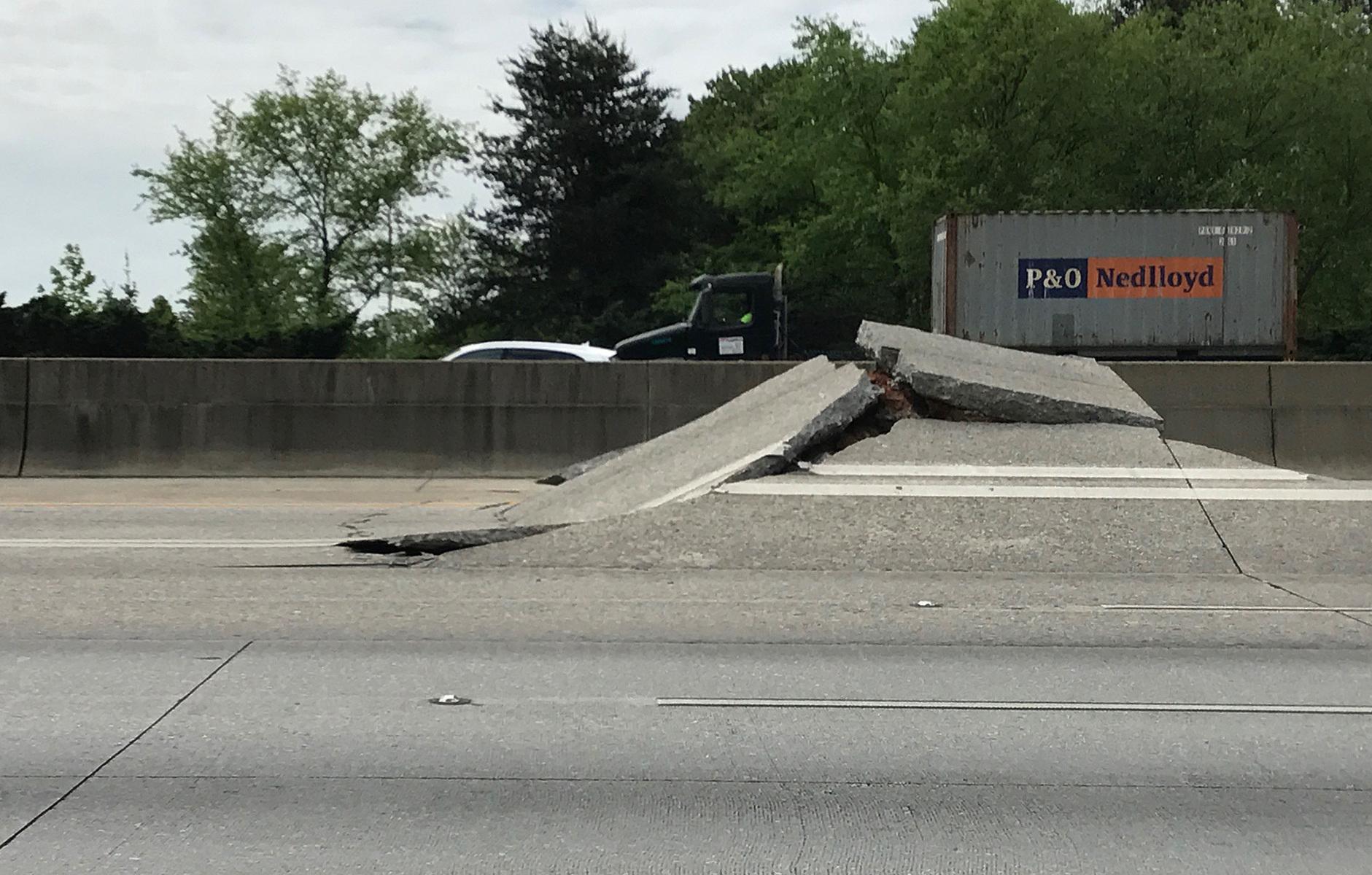 Atlanta Highway Buckles Dramatically Injuring A