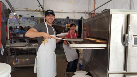 Cooking at the Winston-Salem Greek Festival