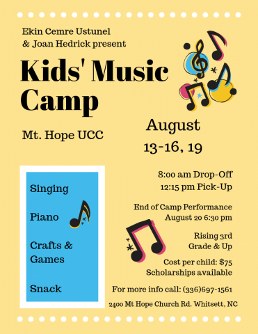 Flyer with event and contact information for Children's Music Camp, text and music note images on yellow and blue background