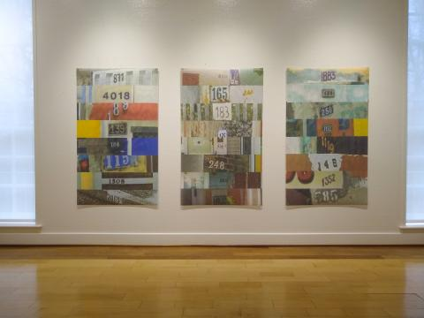 Three digital collages made from Google reCAPTCHA image files. Images are five feet tall by three feet wide and printed on vinyl mesh.