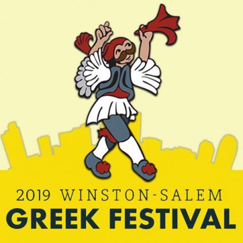 City of Winston-Salem skyline with Greek dancer