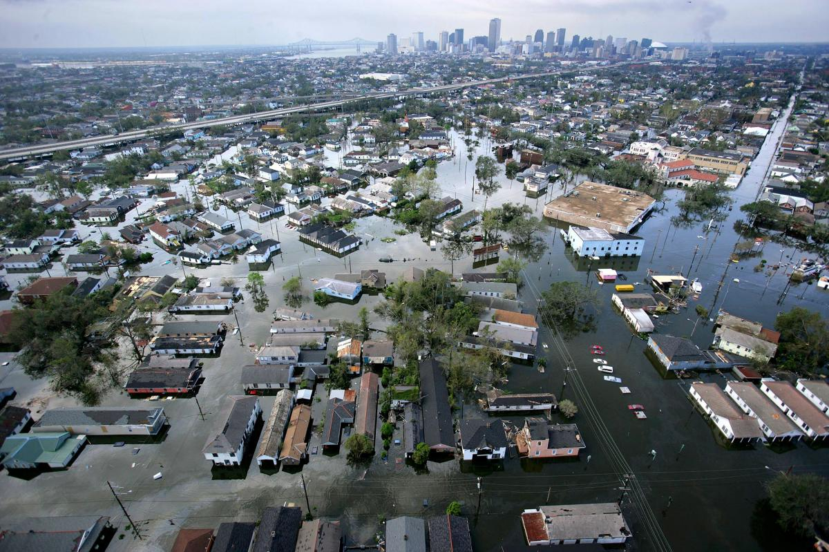 Floodwaters from Hurricane Katrina cover the streets of New Orleans in August 2005.
