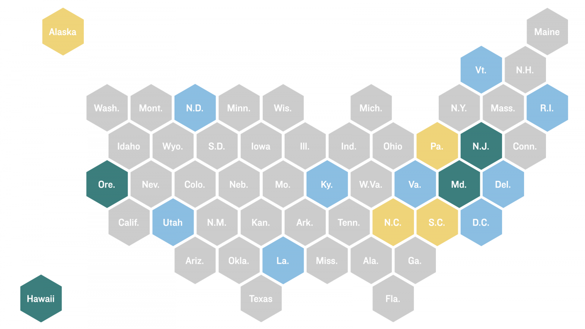 States in this map that have made their contact tracing data public are in green.