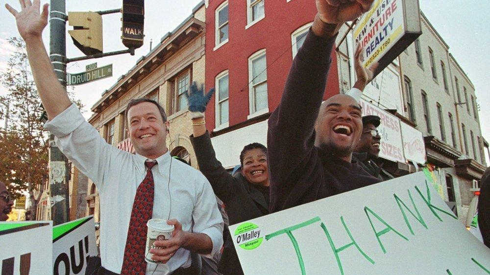 O'Malley thanks supporters after being elected mayor of Baltimore in 1999.