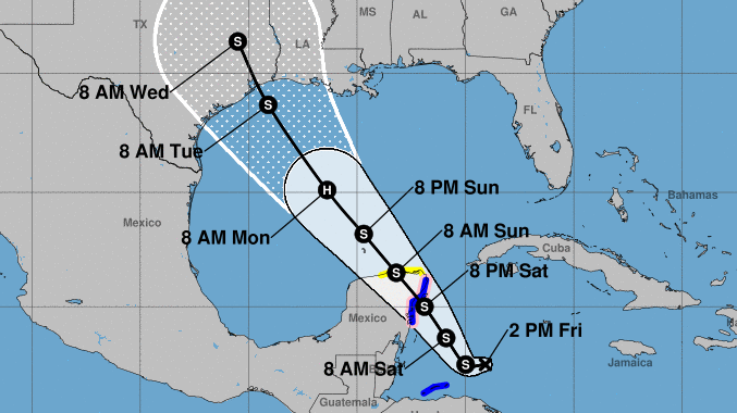 Tropical Depression 14, which could become Tropical Storm Marcos, is predicted to become a hurricane in the Gulf and then to weaken before hitting the Texas coast near Houston, possibly by Tuesday morning.