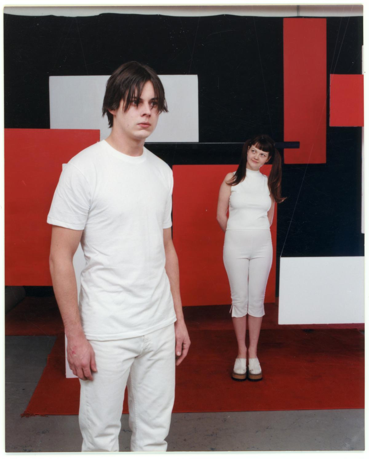 Jack and Meg White on the set of the De Stijl cover shoot.