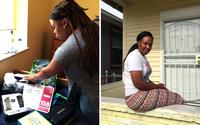 (Left) Danielle Molett sorts through school supplies she purchased for her three children, a cost that absorbed most of that month's welfare check. (Right) Natasha Williams on the porch of her apartment in New Orleans. Last year, she was homeless and live