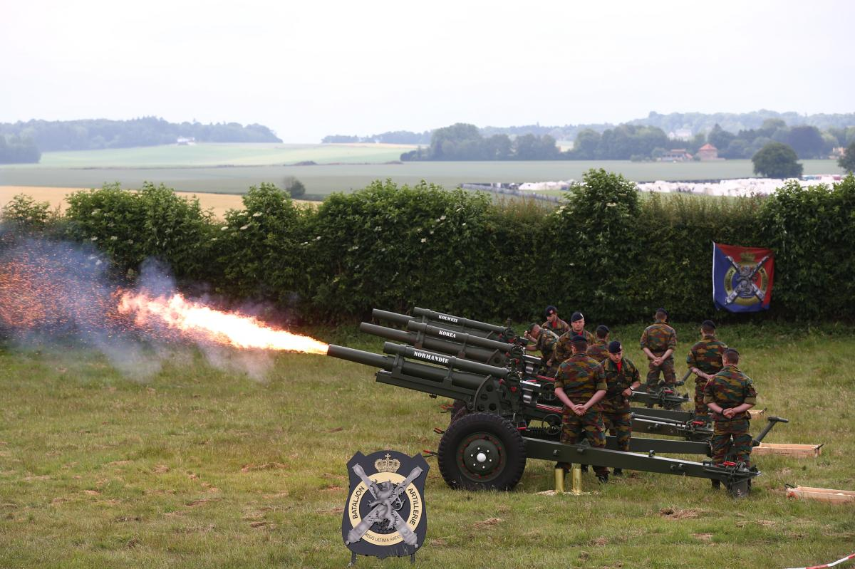 The Belgian military fires a salvo of 15 cannon shots outside Brussels during a ceremony marking the bicentenary of the Battle of Waterloo on Thursday.
