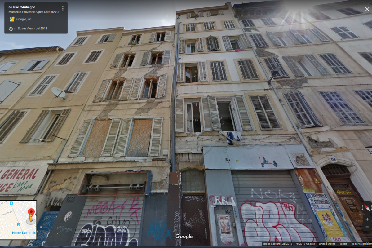 Images taken by Google in July show the dilapidated facades of 63 and 65 rue d'Aubagne, which collapsed Monday.