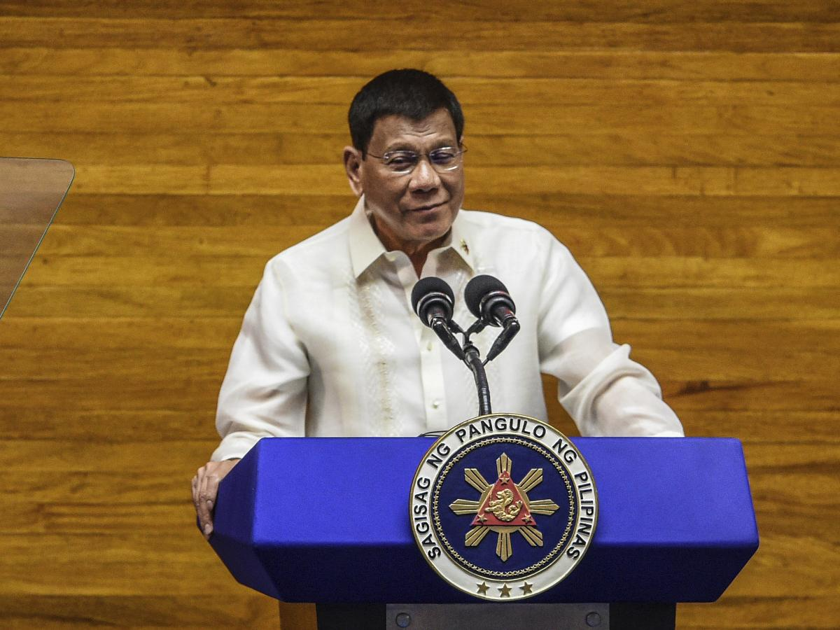 Philippine President Rodrigo Duterte delivers a state of the nation address at the House of Representatives in Quezon City, Philippines, on July 26. Duterte is nearing the end of his six-year term amid a raging pandemic, a battered economy and a legacy ov