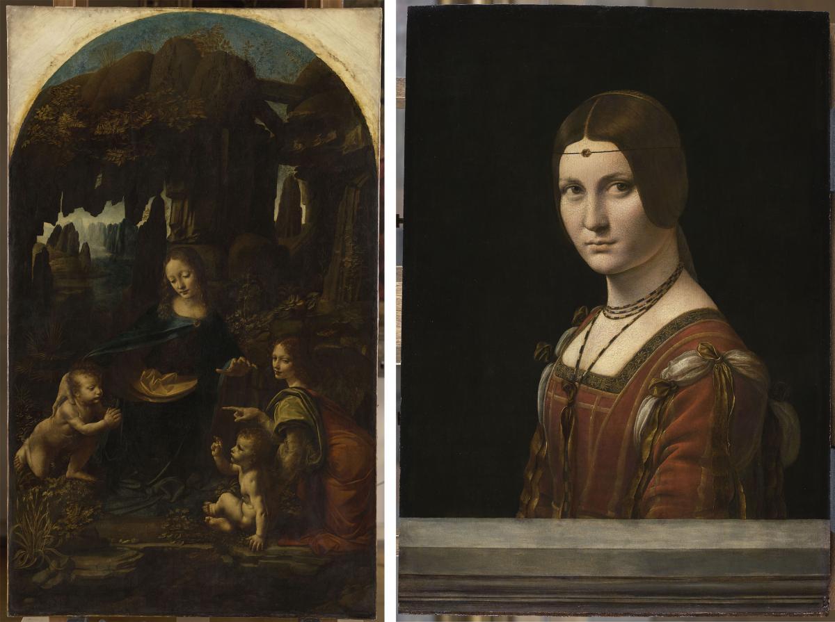 "Leonardo da Vinci's ""Madonna of the Rocks"" (left) and ""La belle Ferronnière"" or Portrait of an Unknown Woman (right), are both part of the Louvre's exhibition."