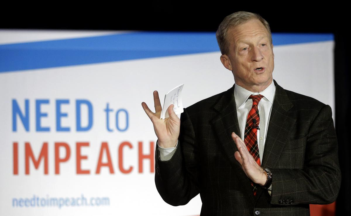 "Billionaire investor Tom Steyer speaks during a ""Need to Impeach"" town hall event in March."